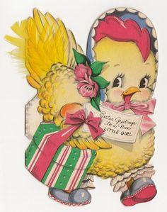 Vintage Greeting Card Easter Cute Die-Cut Chicken Hen Feather Hallmark 1940s