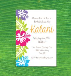 Hawaiian Luau Birthday Party Invitation- Hawaiian Party Invitation- Luau Party Invitation- Luau Invitation by CrowningDetails on Etsy https://www.etsy.com/listing/232922768/hawaiian-luau-birthday-party-invitation