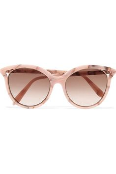 Pink, white and brown acetate, gold-tone metal Designer color: Pink Marble Come in a designer-stamped case 100% UV protection Made in Italy