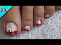 DISEÑO de UÑAS FLORES PARA PIES - FLOWERS NAIL ART♥ - CÓMO PINTAR FLORES - NLC - YouTube Fall Toe Nails, Pretty Toe Nails, Cute Toe Nails, Pretty Nail Art, Dope Nails, Cute Pedicure Designs, Toenail Art Designs, Pedicure Nail Art, Toe Nail Art