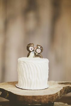 kissing owl cake toppers // photo by UlmerStudiosBlog.com