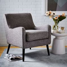 Book Nook Armchair #westelm not very deep or tall - small scale chair - would need to try out. But comes stocked in a minty Eucaplytus