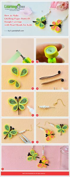 Do you want to make any interesting jewelry for your kids? Then check this Pandahall tutorial on how to make quilling paper butterfly dangle earrings with pearl beads for kids. Quilling Butterfly, Paper Quilling Flowers, Paper Quilling Cards, Paper Quilling Jewelry, Paper Quilling Patterns, Quilled Paper Art, Quilling Paper Craft, Paper Jewelry, Paper Butterflies