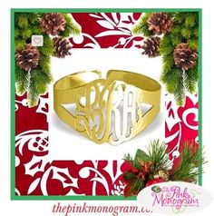What a great cuff from The Pink Monogram This large monogrammed cuff has a 1 1 4 monogram that is hand cut and attached to a split band cuff This Monogram Jewelry, Engraved Jewelry, Thing 1, Girls Wear, Classy, Table Decorations, Pearls, Band, Create