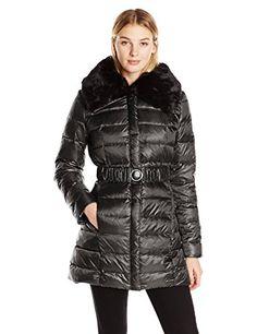 1e926d5040a Dawn Levy 2 Womens Gabby Belted Down Coat with Faux Fur Trim Hood Black  Medium