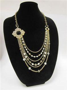 Glam Collection Antique Bronze Multi-Chain Necklace and Earrings