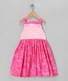 Pink Chenille Flower Dress - Toddler & Girls