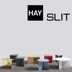 Les tables d'appoint SLIT : rondes, rectangulaires et hexagonales. des coloris et matériaux magnifiques. #design #hay #designer #slit #decor