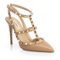 VALENTINO rockstud nude leather slingback pumps found at Nudevotion.com
