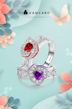 V-MONI S925 Fashion Silver Retro Style Inlaid Pink Heart Zircon Ring