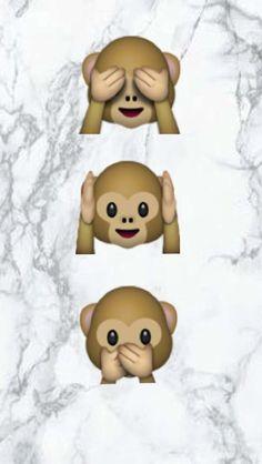 Iphone Wallpaper : Fond d'écran émojis singe  Sur une plaque de marbre (noir et blanche )