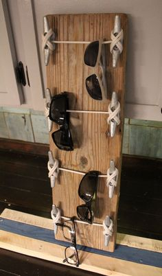 Vertical Sunglass Rack with Boat Cleats and Reclaimed Wood by WillisWoodDesigns on Etsy