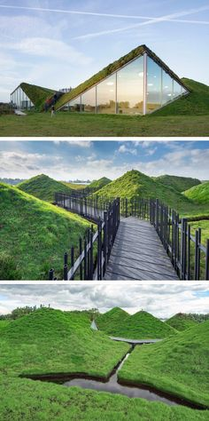 Green roof ideas for intergrating the nature with the human creations. Merging of the nature and making the building a part of the nature. This Dutch museum is covered in grass and has a rooftop walkway Architecture Durable, Green Architecture, Concept Architecture, Sustainable Architecture, Amazing Architecture, Contemporary Architecture, Building Architecture, Pavilion Architecture, Natural Architecture