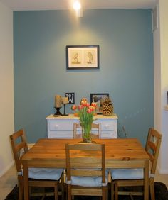 """Accent wall color at our last place. Need to remember Behr """"Cloud Burst"""" in case I ever get the energy to paint again"""