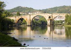 roman bridge in Ourense, Galicia, Spain