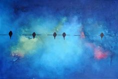 "Original Abstract Painting Birds on a Wire, Blackbirds Blue Pink Wall Decor 16""x24"""