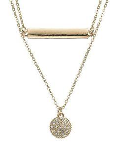LC Lauren Conrad Bar Link & Disc Multistrand Necklace