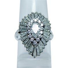 Vintage 3ct Pear Baguette Diamond Platinum Ring Heavy Estate Jewelry