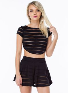 Stay In The Shadow Stripe Crop Top WHITE BLACK - GoJane.com