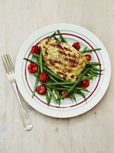 Jamie Oliver's Barbecued chicken with warm green bean salad (45 mins. + marinating...make ahead)