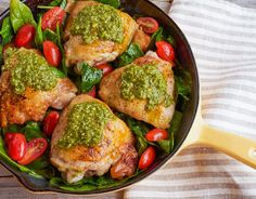 This easy one-skillet pesto chicken made with simple pantry and fridge staples.