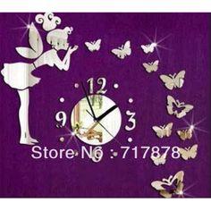 Hot fee& vlinder spiegel wandklok voor thuis diy gratis verzending kinderen slaapkamer decoratie