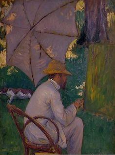 """ Le Peintre sous son Parasol - Gustave Caillebotte , French Oil on canvas "" Renoir, Parasol, Mondrian, French Impressionist Painters, Impressionist Artists, European Paintings, Paul Gauguin, Art Database, Henri Matisse"