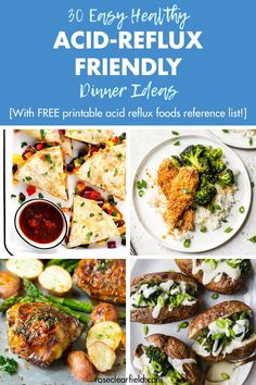 A round-up of 30 easy healthy acid reflux-friendly dinner ideas! Keep your body healthy and happy with simple, stress-free meal planning. Includes a FREE printable best and worst acid reflux foods reference list. Low Acid Recipes, Acid Reflux Recipes, Foods For Acid Reflux, Low Acid Foods, Acid Reflux Diet Plan, Anti Reflux Diet, Healthy Dinner Recipes, Diet Recipes, Healthy Dinners