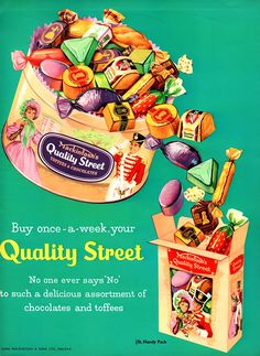 Quality Street Buy once a week - Metal Advertising Wall Sign - Retro Art Old Advertisements, Retro Advertising, Retro Ads, Advertising Signs, Advertising Campaign, Vintage Sweets, Vintage Candy, Pub Vintage, Look Vintage