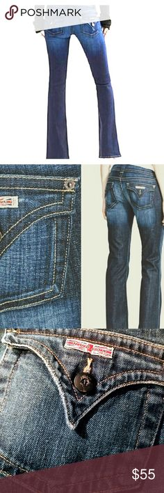 """HUDSON SIGNATURE BOOT CUT JEANS 🔥 Hudson....we have a problem....I have 3 pairs of these mind blowing jeans, but I'm only selling 1!! If you haven't worn Hudson Jeans, you need to AND you need to start with these! Classic jeans made to fit a woman correctly. Fitted through waist and thigh, widening toward the ankle into a boot cut for a very slimming presentation. 7"""" rise and higher in the back (my fave feature) 5 pocket, inseam is approx 32"""" ankle is about 8.75"""" EUC NO wear, rips or…"""