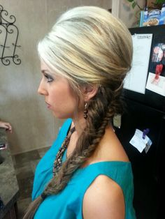 """By Lauren Dauzat. Fishtail braid and """"bump"""" Absolutely my favorite hairstyle for this cute country outdoor wedding!!"""