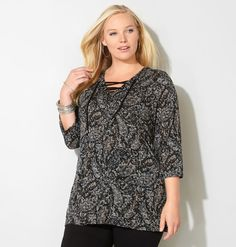 Abstract Paisley Lace-Up Hatchi Top