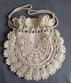 Items similar to Ladies crochet summer handbag / White summer bag/ Purse on Etsy Crochet Bag Tutorials, Crochet Purse Patterns, Crochet Flower Tutorial, Crochet Purses, Crochet Crafts, Easy Crochet, Crochet Flowers, Crochet Projects, Crochet Summer