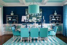 navy and turquoise dining room | turquoise dining room with navy turquoise pendant