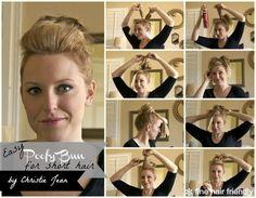 DIY Wedding Hair : DIY EASY POOFY BUN FOR SHORT HAIR