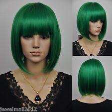 Green short wig | short dark green lady women fancy-dress party cosplay full hair wig