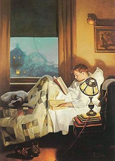 boy reading in bed painting by american artist Norman Rockwell Peintures Norman Rockwell, Norman Rockwell Art, Norman Rockwell Paintings, Norman Rockwell Christmas, Vintage Illustration, Reading In Bed, Reading Art, Reading People, Children Reading
