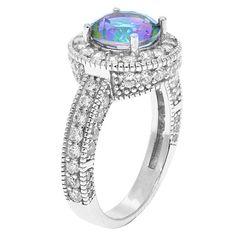 18k White Gold-Plated Mystic Topaz Halo Ring