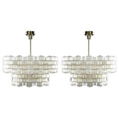 2 Beautiful Orrefors Glass Chandeliers by Carl Fagerlund