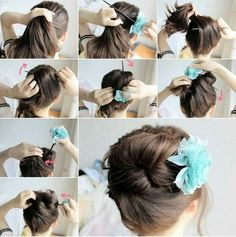 Easy diy hair idea, use a chopstick or pencil and tie a flower accessory on the end for decoration