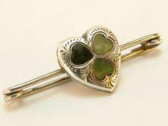 Details about Antique Victorian Silver Irish Connemara Marble Shamrock ...
