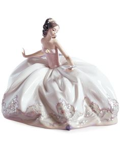 The spring ball awaits this young beauty. Draped in a long, flowing dress and pink wrap, Lladro's graceful porcelain figurine evokes all the excitement and wonder of a first dance. Porcelain Doll Makeup, Porcelain Dolls Value, Porcelain Jewelry, Porcelain Ceramics, China Porcelain, Porcelain Tiles, Painted Porcelain, Ceramic Art, Hand Painted