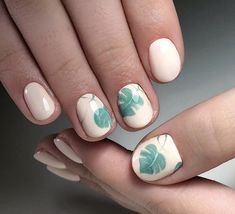 #nails #maniqure #pink #green #palm #ногти #маникюр #розовый #зеленый #листья #пальмы