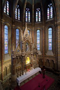 This is the Altar of the Matthias Church on Castle Hill in Budapest, Hungary.
