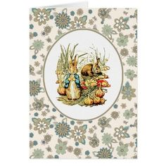 Happy Easter. Customizable Easter Greeting Card with a Vintage Bunny Children's Book Illustration , circa 1902.  Matching cards, postage stamps and other products available in the Holiday / Easter Category of the oldandclassic store at zazzle.com