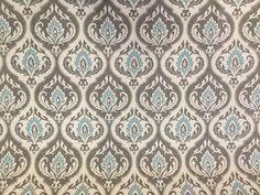 Aqua Gray Damask Fabric Modern Damask Drapery Fabric By