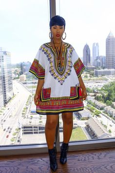 White/Pink Thi Dashiki Dress/Top by MuurSwagg on Etsy