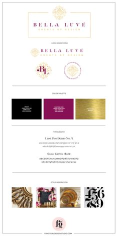 Bella Luve Brand Guide by Fancy Girl Design Studio Luxury Logo Design, Branding Design, Branding Kit, Branding Ideas, Resume Design, Graphic Design, Logo Ideas, Luxury Branding, Design Design