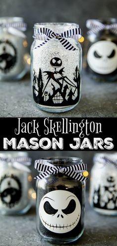 DIY Jack Skellington Mason Jars - how to make glitter mason jars for Halloween #JackSkellington #TheNightmareBeforeChristmas #Halloween #masonjars