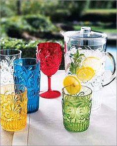"""Marcelle"" Outdoor Glassware by Le Cadeaux at Neiman Marcus. Neiman Marcus Home, Outdoor Drinkware, Texture, Decorating On A Budget, Event Planning, Decor Styles, Outdoor Living, Entertaining, Table Decorations"